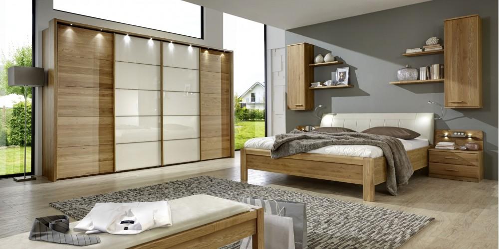Modell TL 1454   Schlafzimmer, Großer Schwebetürenschrank   Mittlere Türen  Mit Glasfront, Synchronöffnung, BHT Ca. 330x217x67cm, Bettanlage Ca.