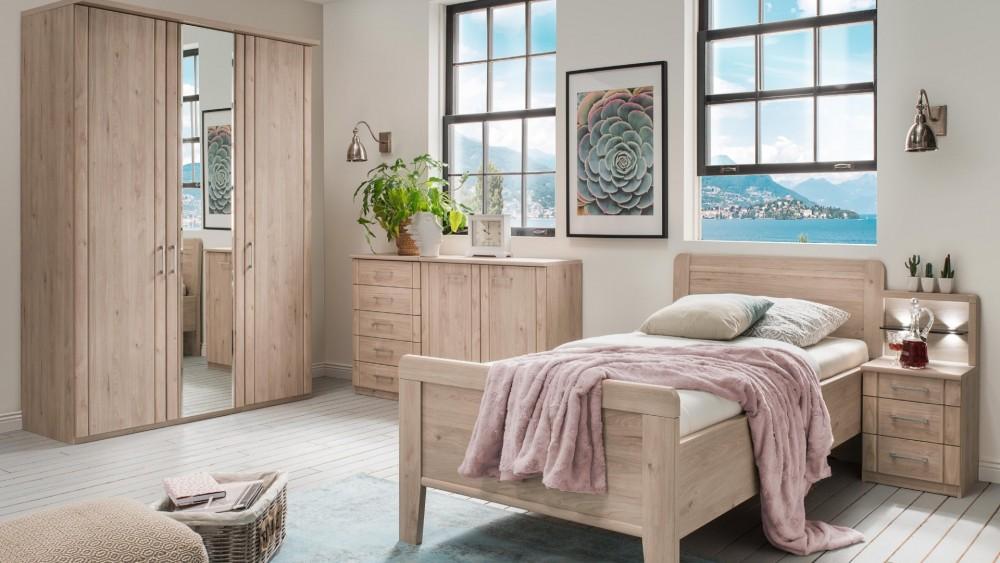 Modell: TL 2121   Schlafzimmer In Steineiche Nachbildung Mit Einzelbett Ca.  100x200cm, Kliederschrank Mit Spiegel Ca. 150cm, Kommode Mit 2 Türen Und 5  ...