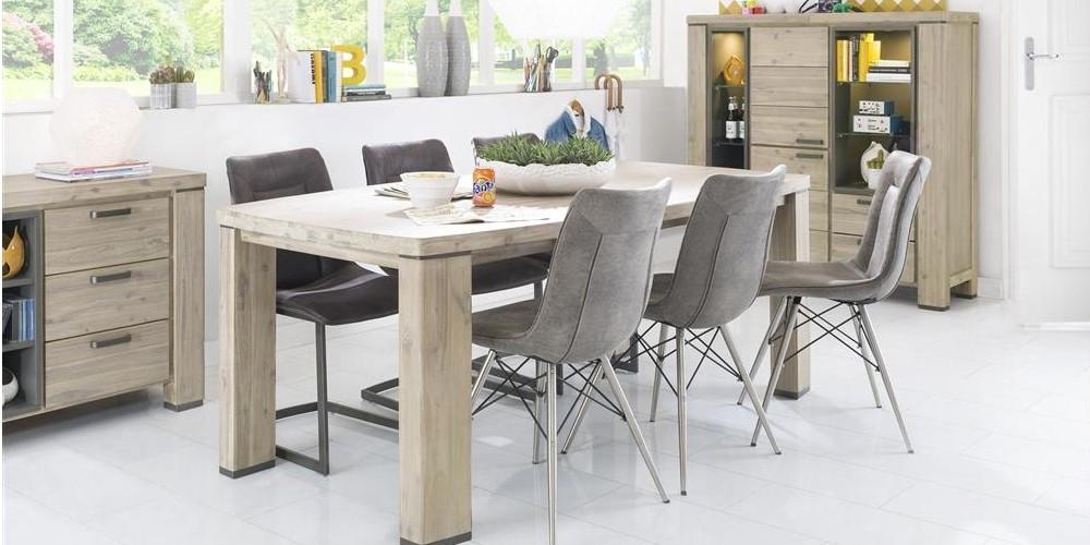 Modell LN 1531   Moderne Tischgruppe, Ausziehtisch Ca. 105x190(+50)cm,  Hochwertige Und Bequeme Schalen Polsterstühle Mit Spidergestell In  Edelstahl,
