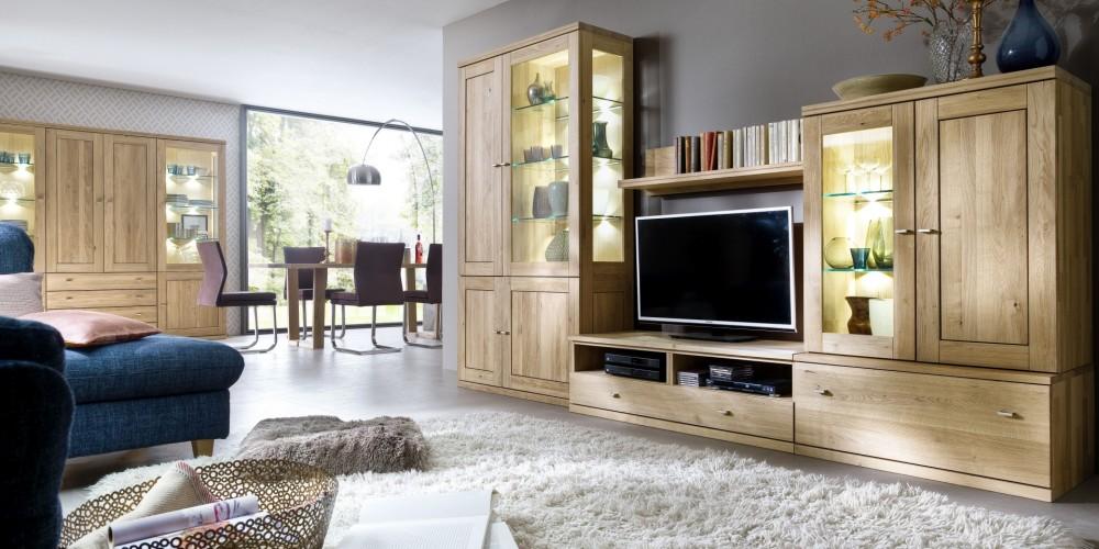 Modell TW 1151   Massive Wohnwand Mit Highboard, TV Schrank Und Vitrine  Incl. Beleuchtung