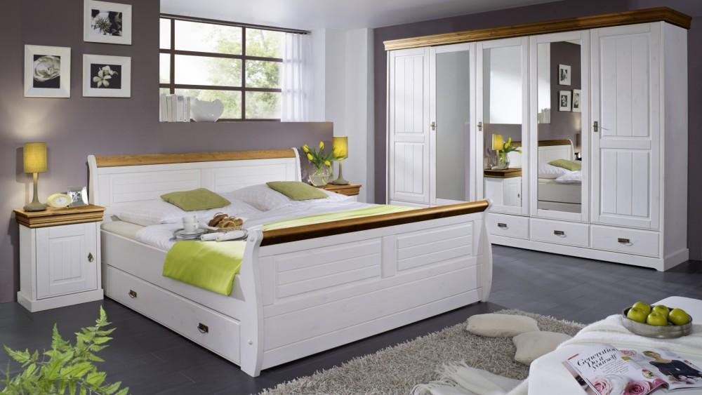 modell ln 2056 komplettes schlafzimmer im modernen landhausstil kiefer massiv weiss gewachst mit abestzung honigfarbend bestehend aus dem doppelbett mit