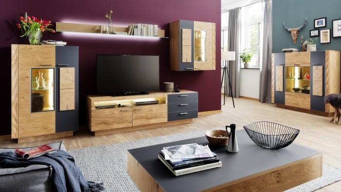 Modell TL 2093   Moderne Wohnwand , Kernasteiche Natur Gebürstet Mit  Akzenten In Satinglas Steingrau, Bestehend Aus: Highboard + TV Schrank +  Wandboard + ...