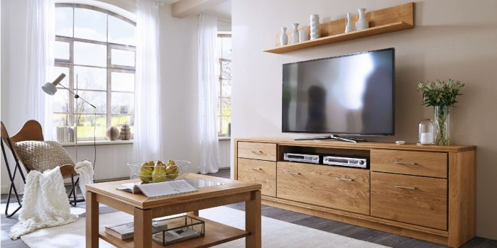 Modell TL 1886   Massive Wohnwand, TV Board, Wandregal, Couchtisch