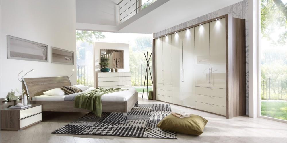 Modell TL 1185   Hochwertiges Schlafzimmer In Eiche Sägerau Und Hellen  Glänzenden Glasfronten Bestehend Aus Dem Futon Bett Ca. 180x200cm , Dem  Nachtkästchen ...