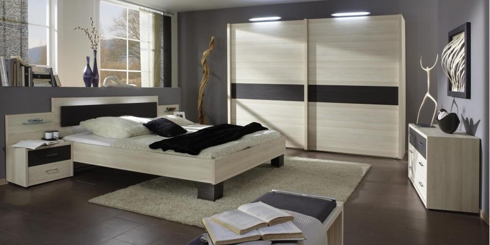 Modell TL 1631   Modernes Schlafzimmer Mit Schwebetürenschrank, Bettanlage  Und Nachtschrank Mit 2 Schubladen In Edel Esche Weiß Und Dunklen Absetzungen
