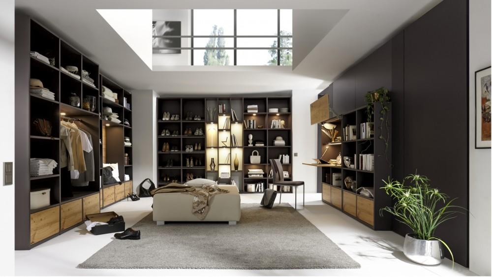 Modell TL 2135   Modernes Schlafzimmer Schranksystem In Materialmix  Shale Grey Und Eiche Perfekt Für Ihr Ankleidezimmer, Viel Stauraum,  Regalsystem,