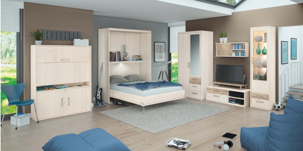 Perfekt Modell LUNA   Offenes, Helles Jugendzimmer Mit Integrierten Schrankbett  Liegefläche Ca. 140cm, Ausführung In Sibiu Lärche Nachbildung