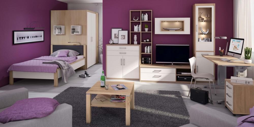 Modell LUNA   Komplettes Jugendzimmer In Der Ausführung Sonoma Eiche, Front  Lichtweiß, Harmonisch Abgestimmt In Form Und Farbe, Bettanlage, ...