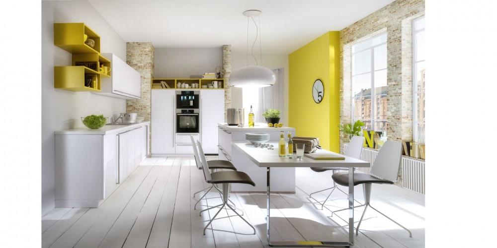 Modell ab12 einbauküche weiß mit gelben regalsystem einbaugeräte