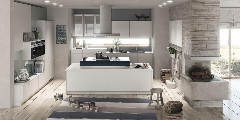 Modell Mbfm680 FG376 304   Moderne Küche In Lack Weiß Mit Kochinsel,  E Geräte, Abzugshaube