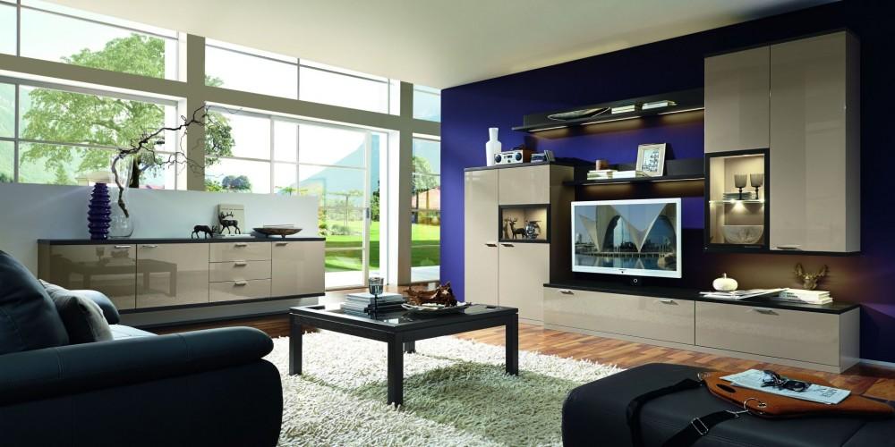 Modell TL 1763   Moderne Wohnzimmermöbel In Hochglanz Lack Crema,  Sideboard, Wohnwand Mit Hängeschrank, TV Element Und Higboard