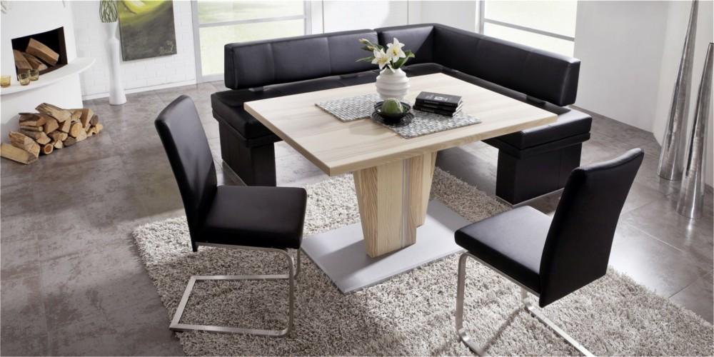 Modell TL 1426   Tischgruppe Bestehend Aus Dem Konsolentisch, 2  Freischwinger Und Der Eckbank Mit Polsterung Leder Schwarz