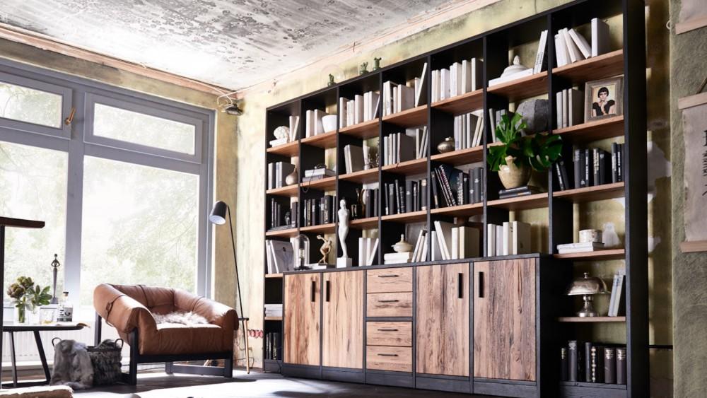 Modell LN 2064   Moderne Wohnwand Oder Bibliothek In Balkeneiche Massiv,  Durch Die Einzigartige Struktur Und Oberfläche Der Balkeneiche Erhalten Sie  Immer ...