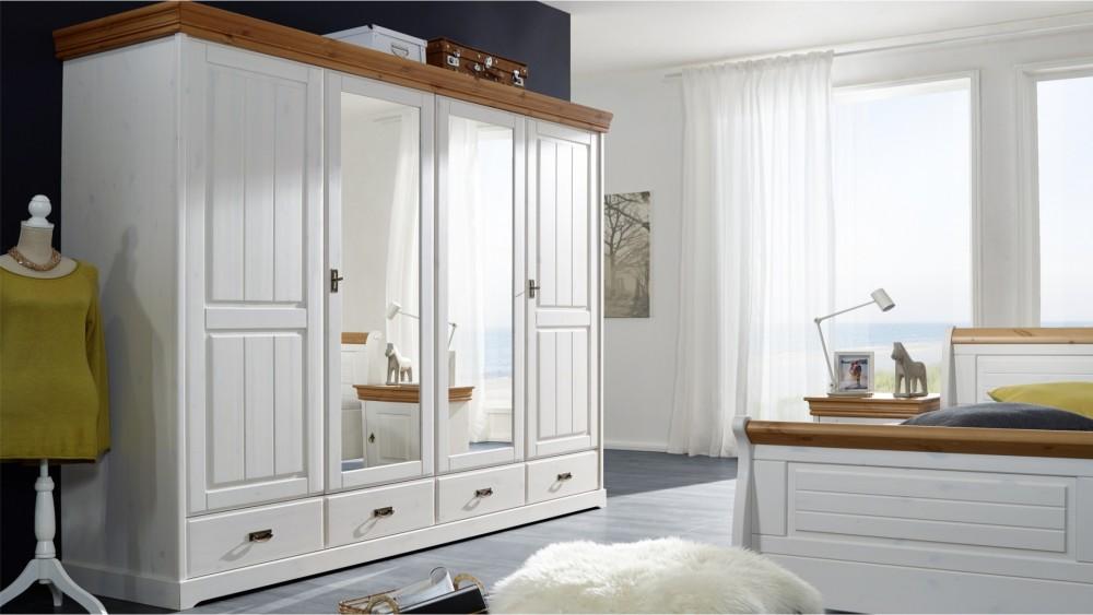 Modell LN 2056   Schlafzimmerschrank In Kiefer Massiv Weiß Gewachst Mit  Honigfarbenden Absetzungen, Front Geriffelt, Perfekt Für Das Schlafzimmer  Im ...