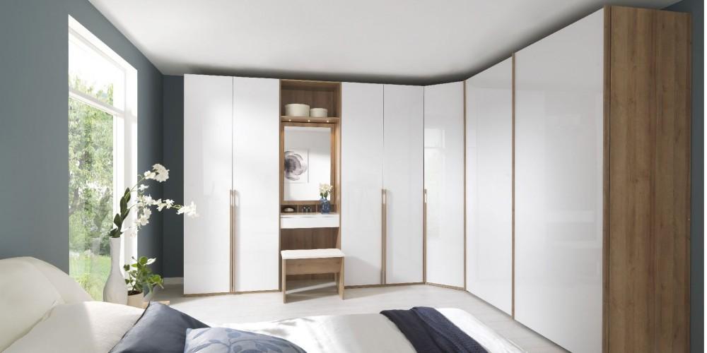 Modell Systema25   Kleiderschrank, Eckkombination, Front Lack Weiß, Korpus  Eiche Furnier, Geräumiger Moderner Kleiderschrank Für Ihr Schlafzimmer