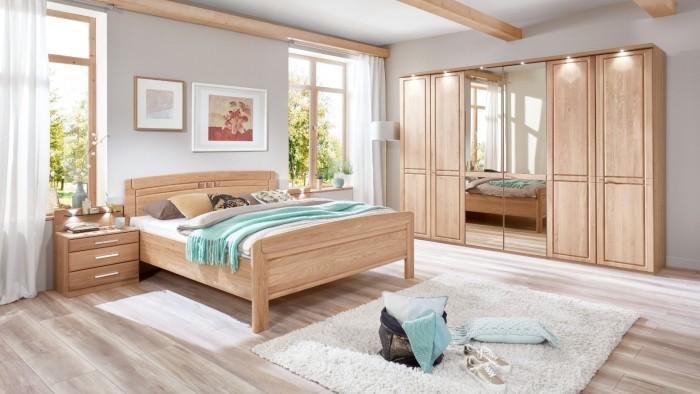 Modell TL 2120   Schlafzimmer, Drehtürenschrank Mit Spiegel Ca. 300cm,  Doppelbett Ca. 180x200cm Mit Nachtschränken 2,5 Schubladen Und Glasablage
