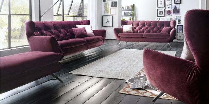 Modell TL 1792   Polstergarnitur Bestehend Aus Dem 2,5 Sitzer + 3 Sitzer,  Bezug Stoff Velvet Purple, Modern, Bequem Zum Relaxen, Frei Im Raum Stellbar
